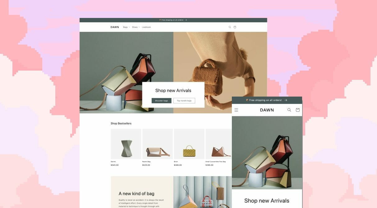 Preview of the Dawn theme introduced in the 2021 Shopify updates